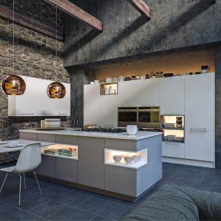 Supermatt White Supermatt Dust Grey Kitchen